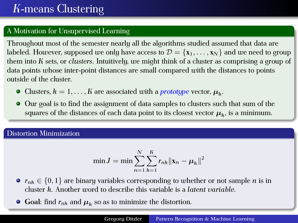 K-means Clustering A Motivation for Unsupervise...