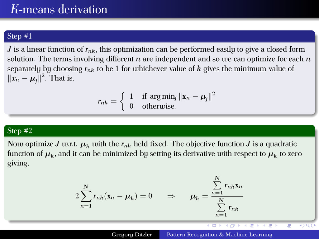 K-means derivation Step #1 J is a linear functi...