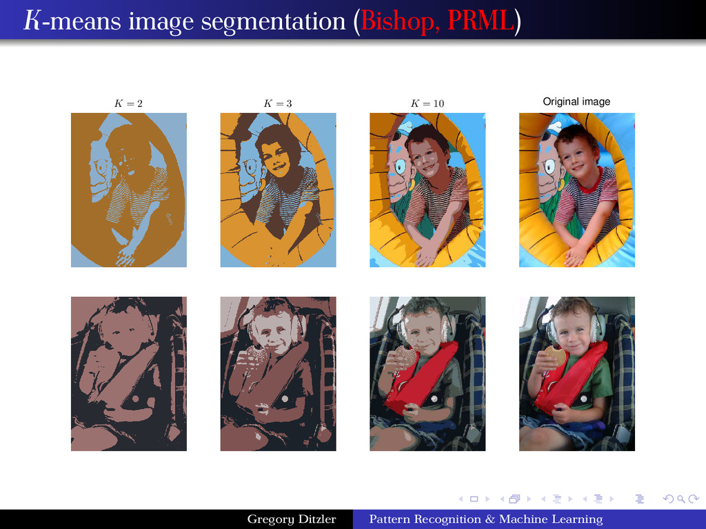 K-means image segmentation (Bishop, PRML) K = 2...