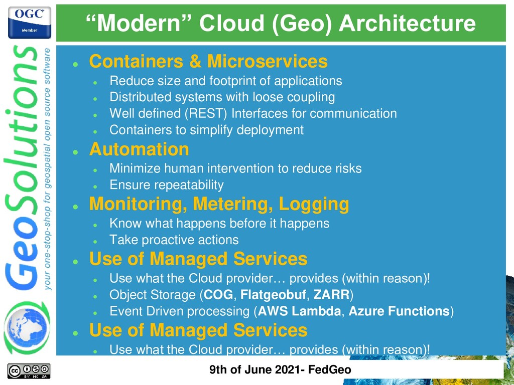"""""""Modern"""" Cloud (Geo) Architecture ⚫ Containers ..."""
