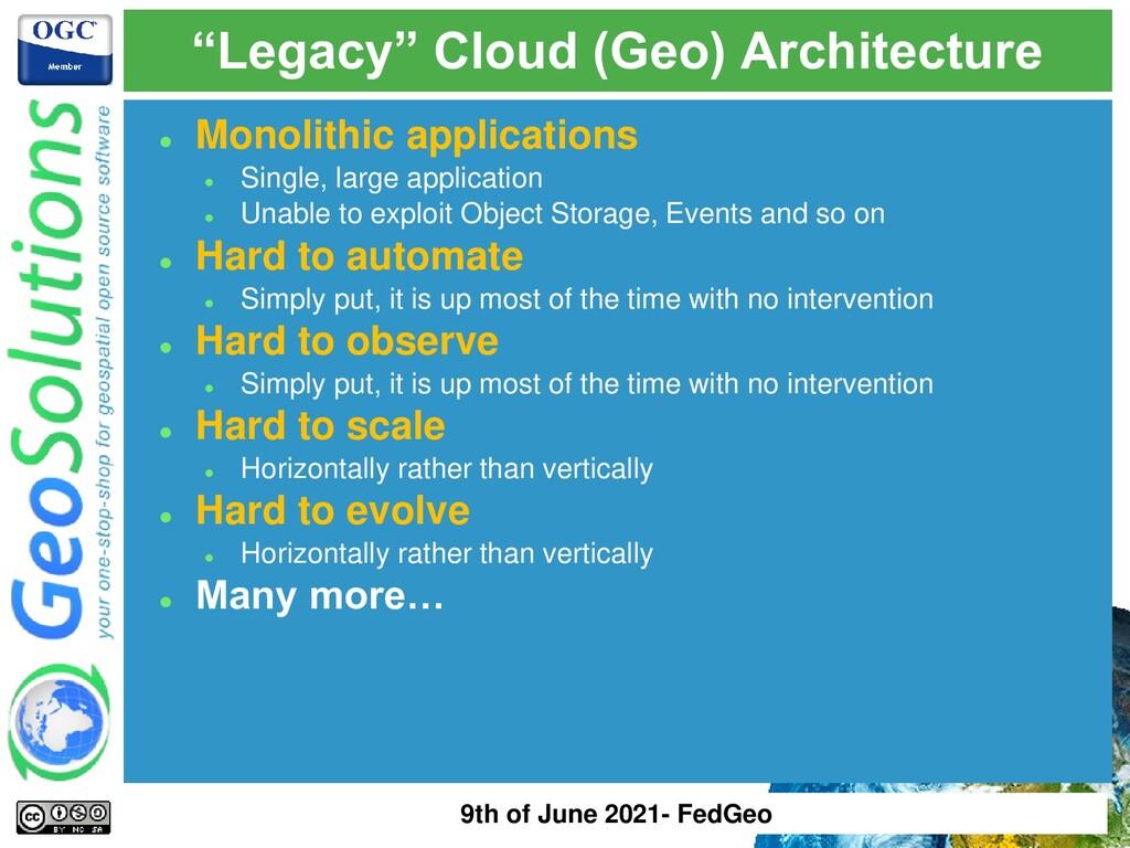 ⚫ Monolithic applications ⚫ Single, large appli...