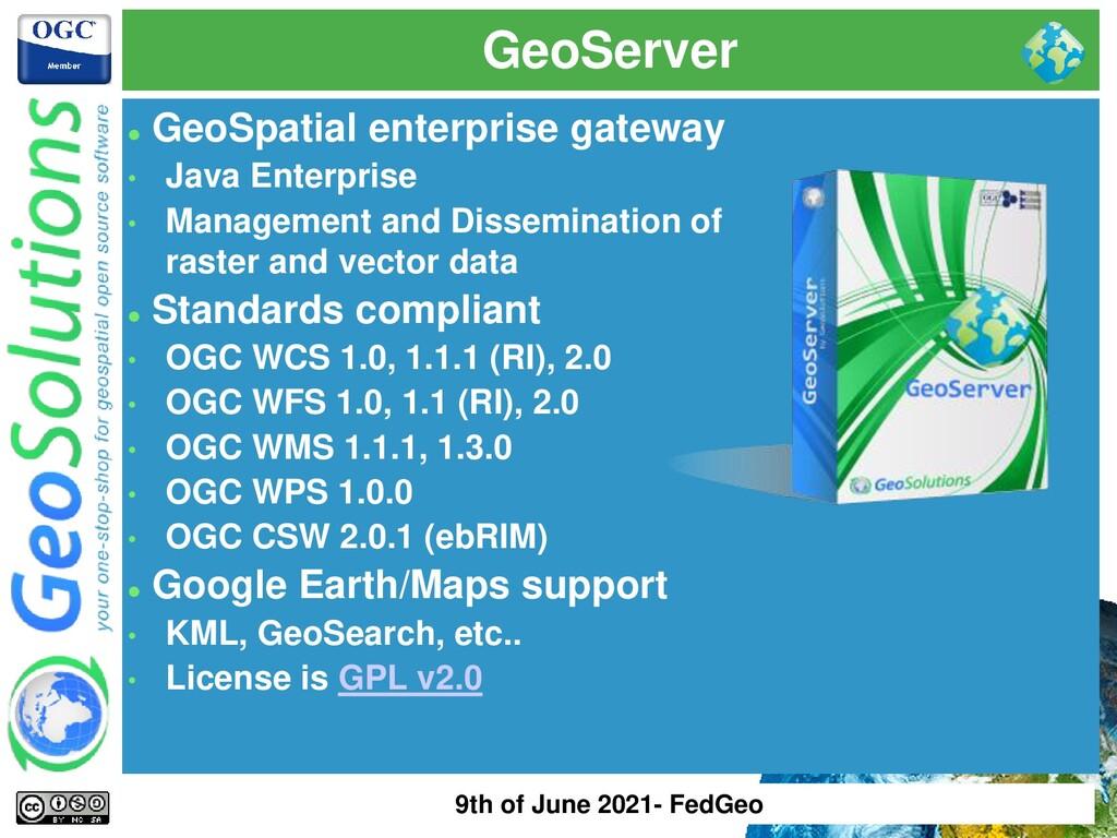 GeoServer ⚫ GeoSpatial enterprise gateway • Jav...