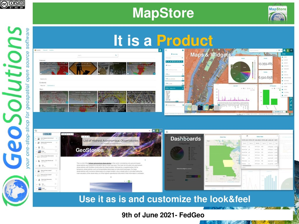 MapStore It is a Product Use it as is and custo...