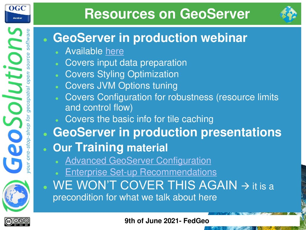 Resources on GeoServer ⚫ GeoServer in productio...