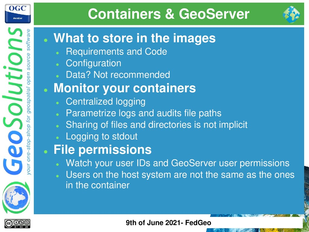Containers & GeoServer ⚫ What to store in the i...
