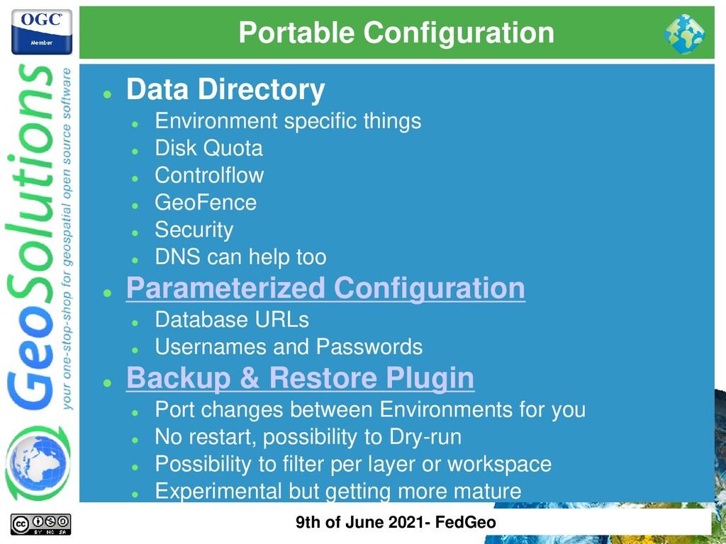 Portable Configuration ⚫ Data Directory ⚫ Envir...