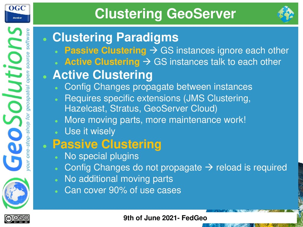 Clustering GeoServer ⚫ Clustering Paradigms ⚫ P...