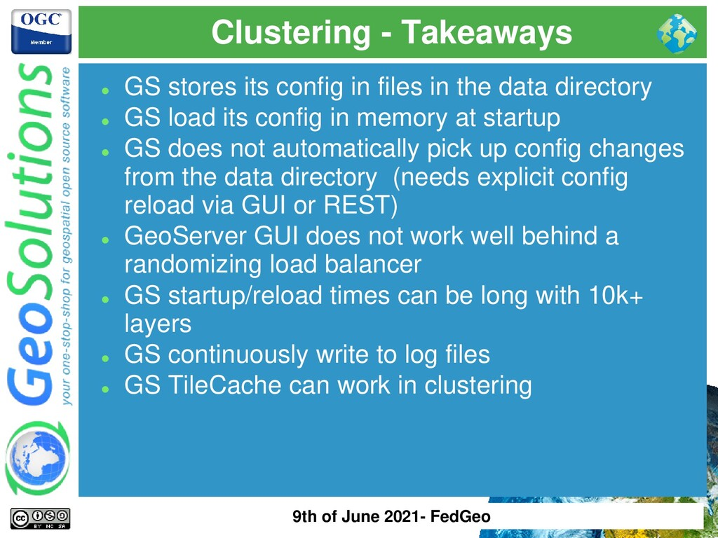 Clustering - Takeaways ⚫ GS stores its config i...