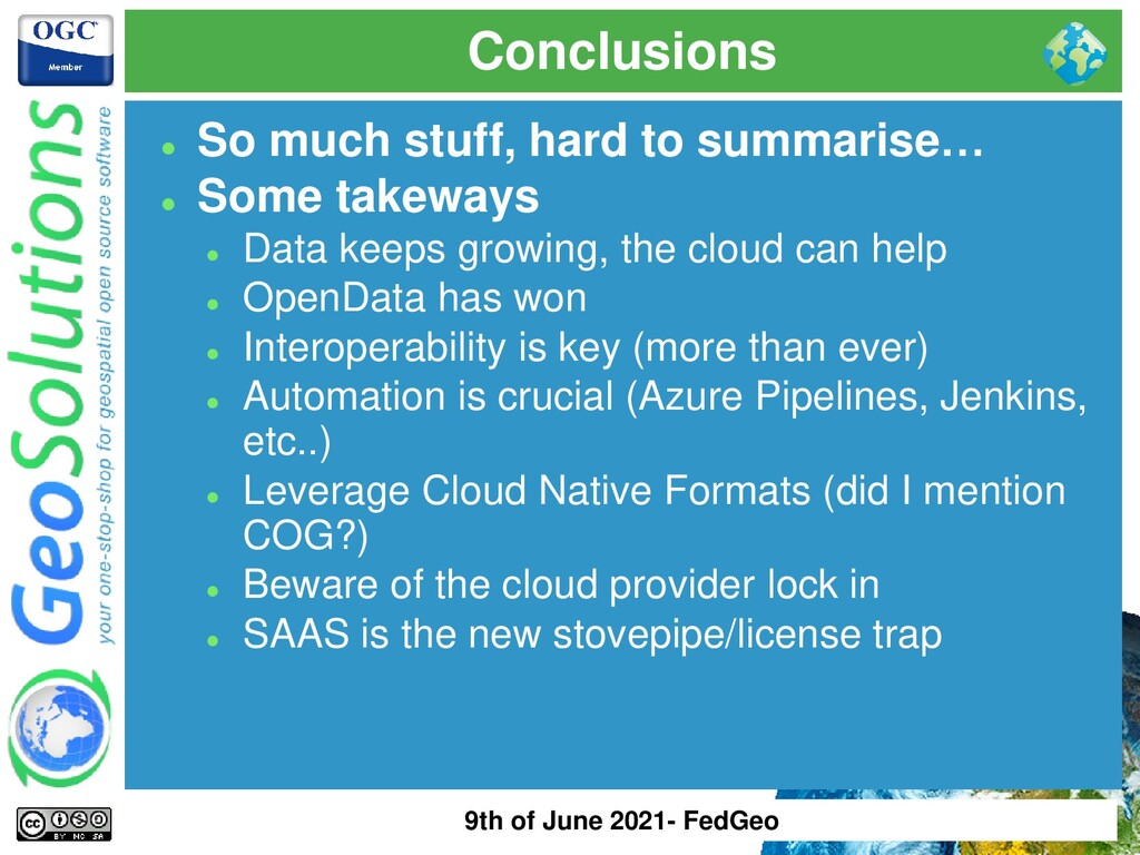 Conclusions ⚫ So much stuff, hard to summarise…...