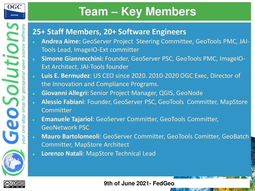 Team – Key Members 25+ Staff Members, 20+ Softw...