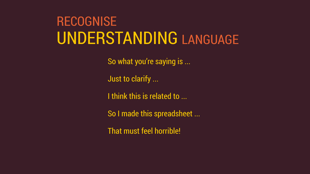 RECOGNISE UNDERSTANDING LANGUAGE So what you're...