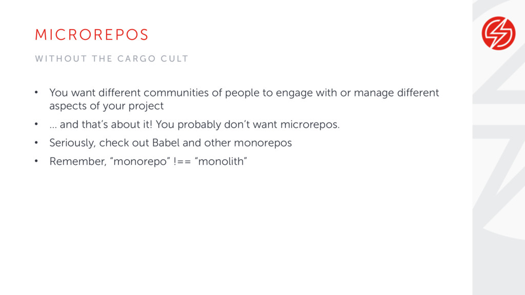 MICROREPOS • You want different communities of ...
