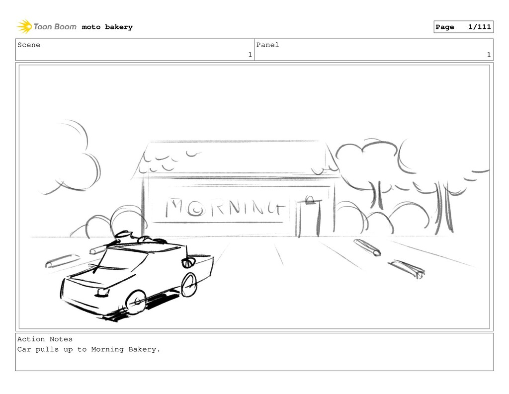 Scene 1 Panel 1 Action Notes Car pulls up to Mo...
