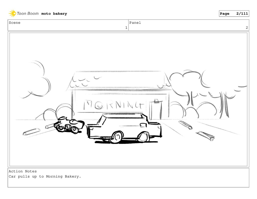 Scene 1 Panel 2 Action Notes Car pulls up to Mo...