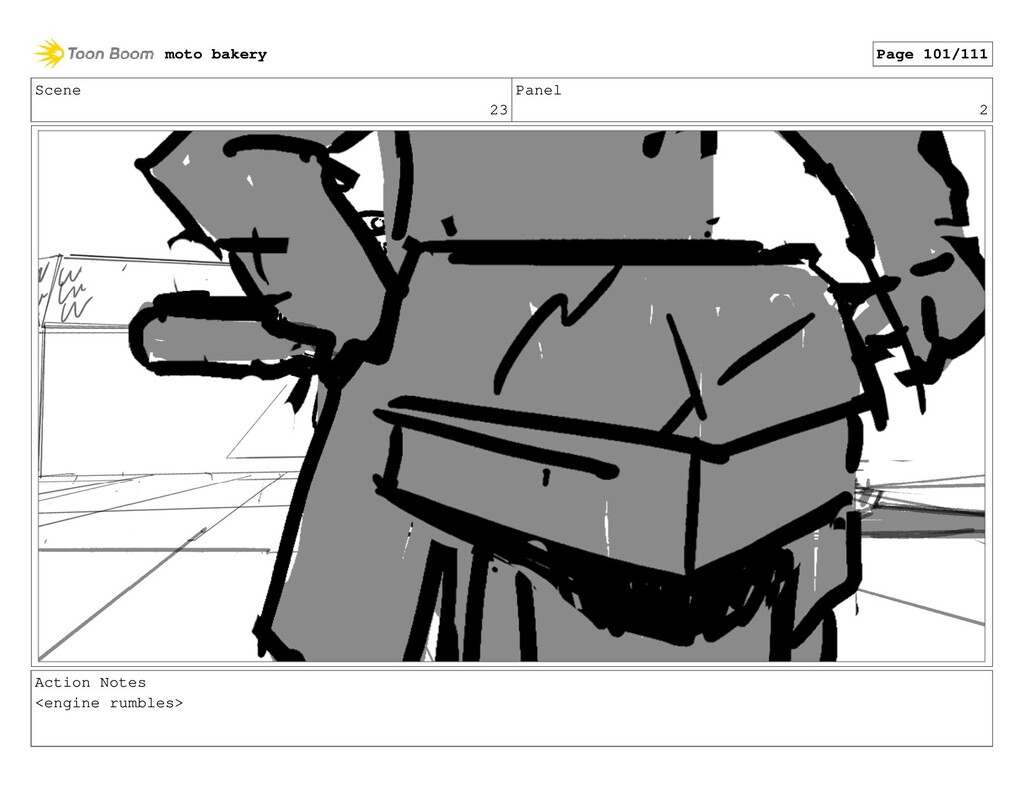 Scene 23 Panel 2 Action Notes <engine rumbles> ...