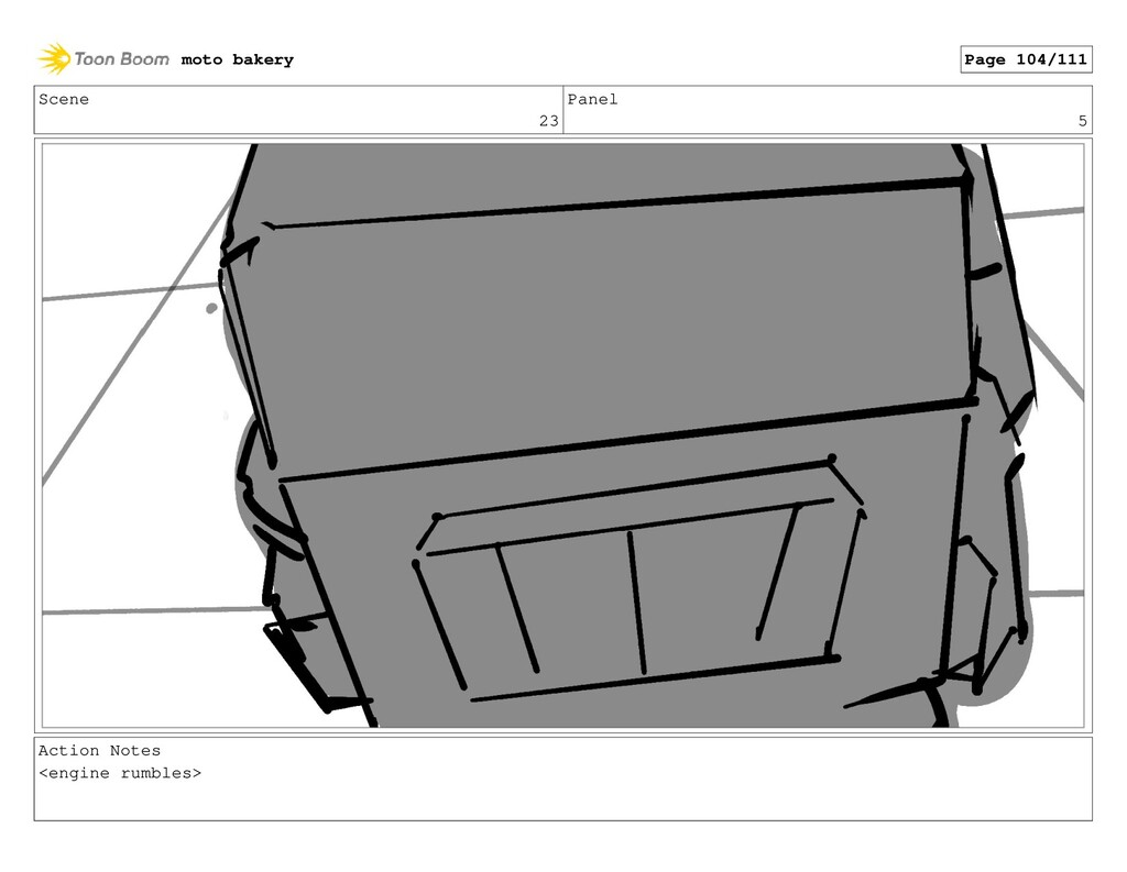 Scene 23 Panel 5 Action Notes <engine rumbles> ...