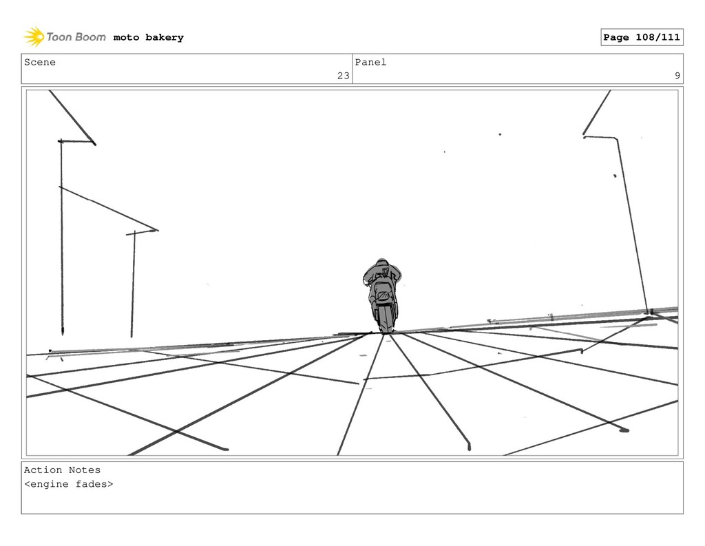 Scene 23 Panel 9 Action Notes <engine fades> mo...