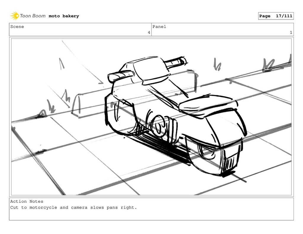 Scene 4 Panel 1 Action Notes Cut to motorcycle ...