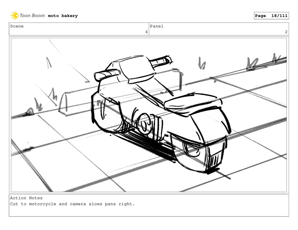 Scene 4 Panel 2 Action Notes Cut to motorcycle ...
