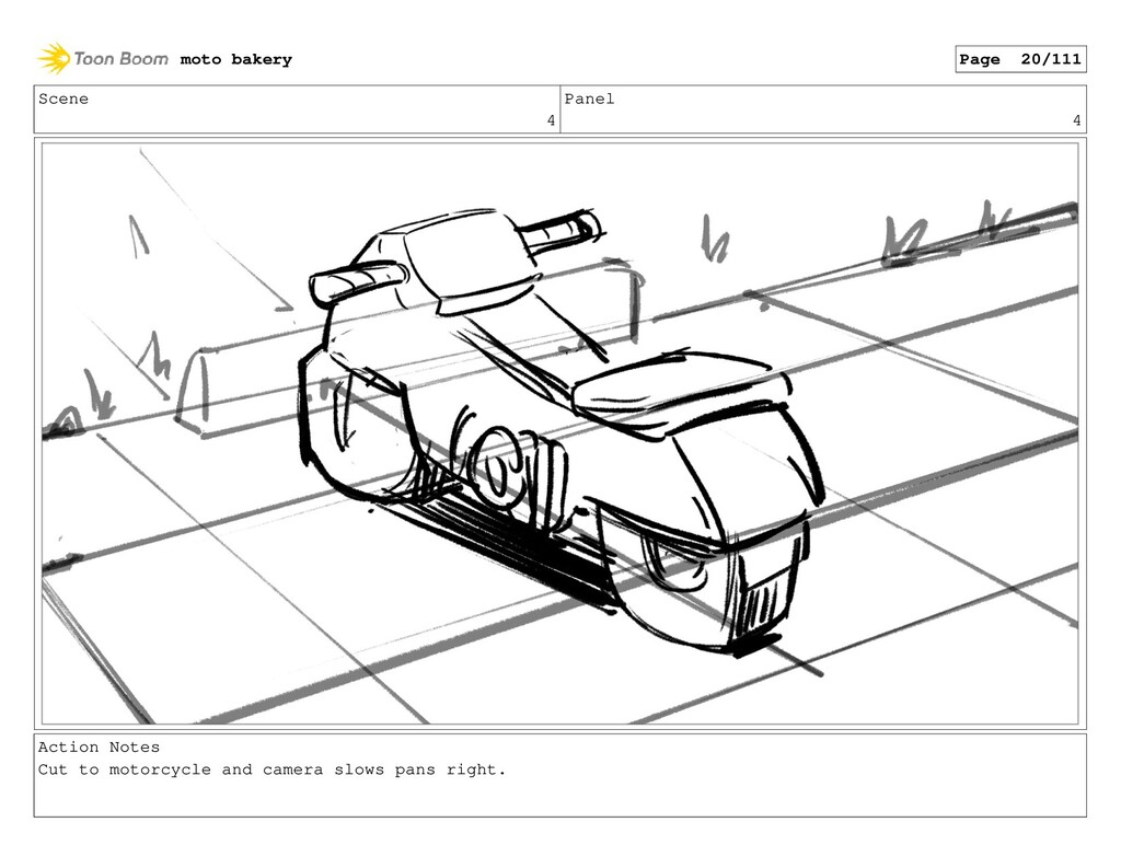 Scene 4 Panel 4 Action Notes Cut to motorcycle ...