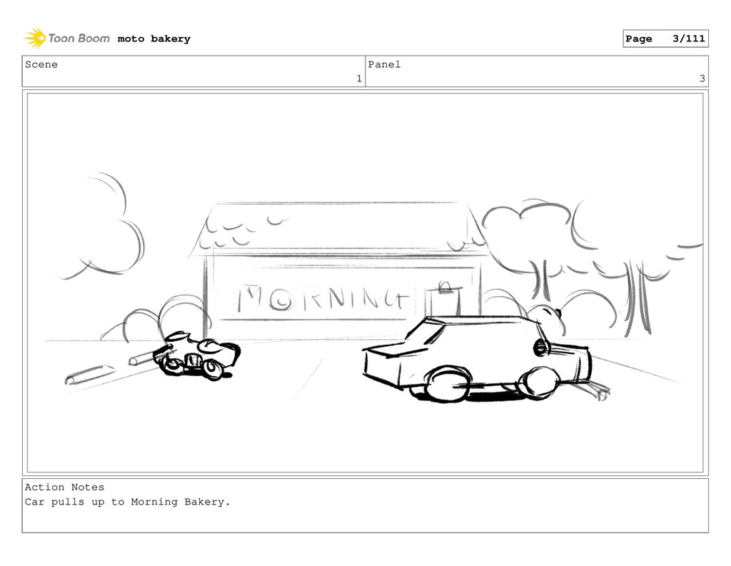 Scene 1 Panel 3 Action Notes Car pulls up to Mo...