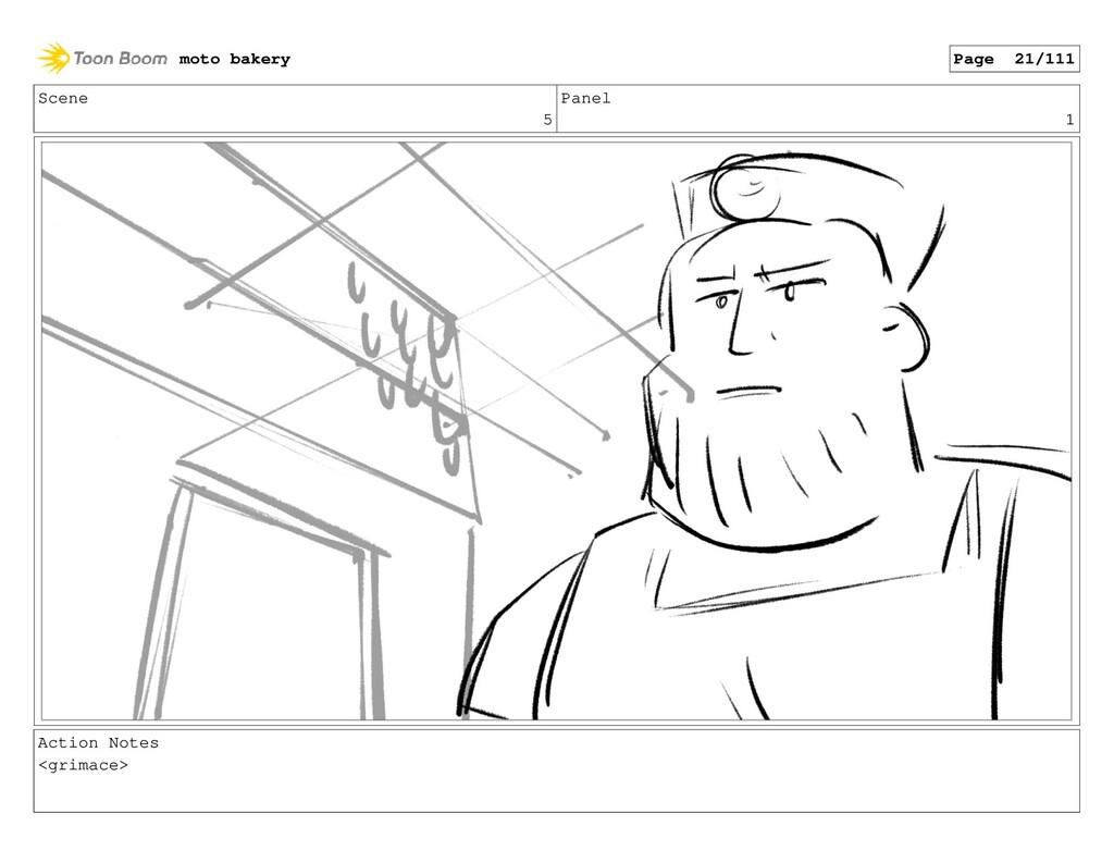 Scene 5 Panel 1 Action Notes <grimace> moto bak...