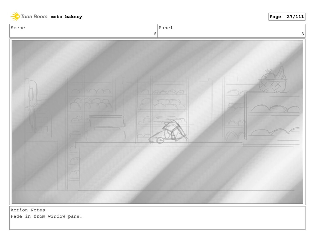 Scene 6 Panel 3 Action Notes Fade in from windo...