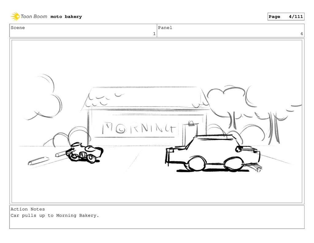 Scene 1 Panel 4 Action Notes Car pulls up to Mo...