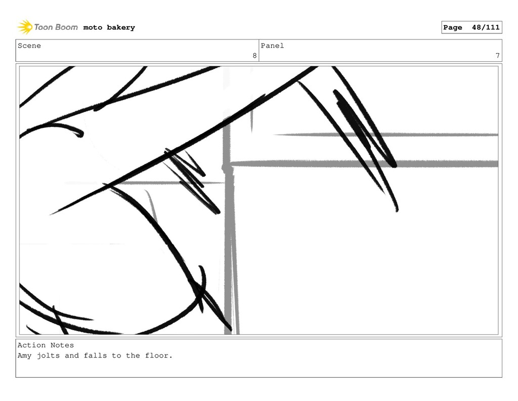 Scene 8 Panel 7 Action Notes Amy jolts and fall...