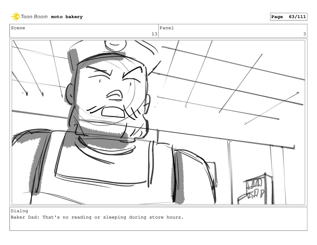 Scene 13 Panel 3 Dialog Baker Dad: That's no re...