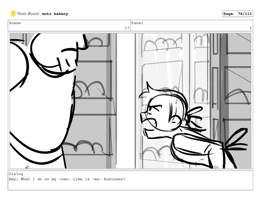 Scene 17 Panel 1 Dialog Amy: What I do on my -o...
