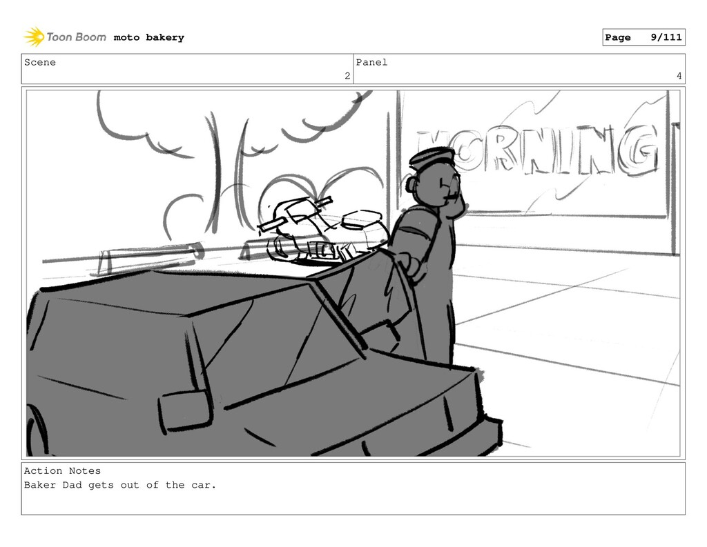 Scene 2 Panel 4 Action Notes Baker Dad gets out...