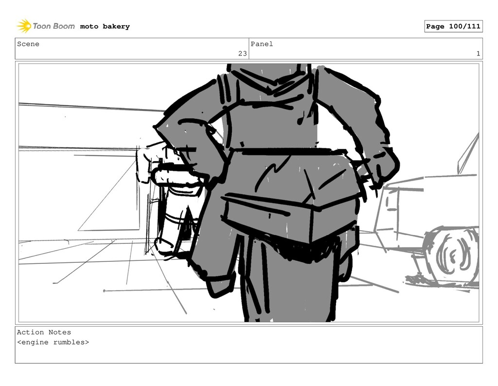 Scene 23 Panel 1 Action Notes <engine rumbles> ...