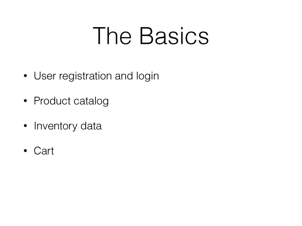 The Basics • User registration and login • Prod...