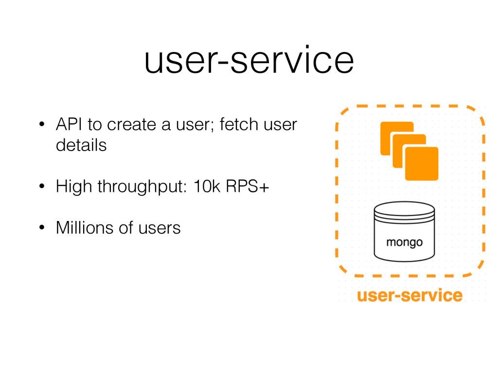 user-service • API to create a user; fetch user...