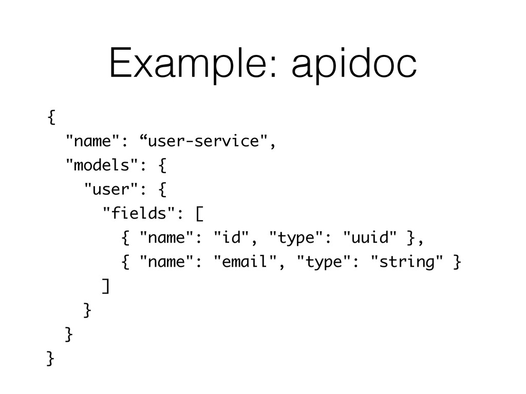 "Example: apidoc { ""name"": ""user-service"", ""mode..."