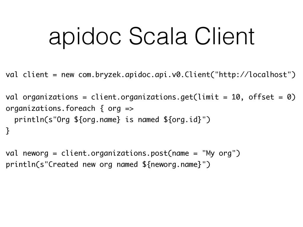 apidoc Scala Client val client = new com.bryzek...