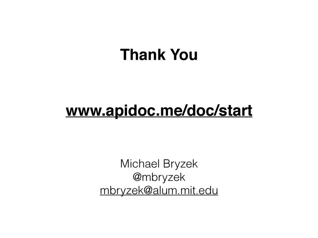 Thank You www.apidoc.me/doc/start Michael Bryze...