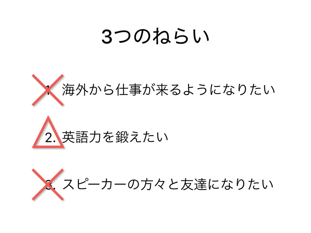 3ͭͷͶΒ͍ 1. ւ֎͔Β͕དྷΔΑ͏ʹͳΓ͍ͨ 2. ӳޠྗΛ͍͑ͨ 3. εϐʔΧʔ...