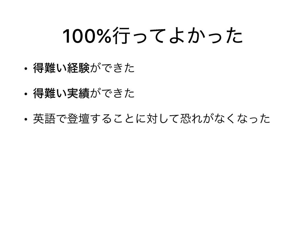 100%ߦͬͯΑ͔ͬͨ • ಘ͍ܦݧ͕Ͱ͖ͨ • ಘ͍࣮͕Ͱ͖ͨ • ӳޠͰొஃ͢Δ͜ͱ...
