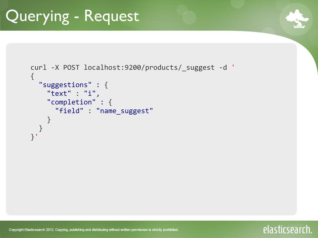 Querying - Request curl -‐X POST loca...