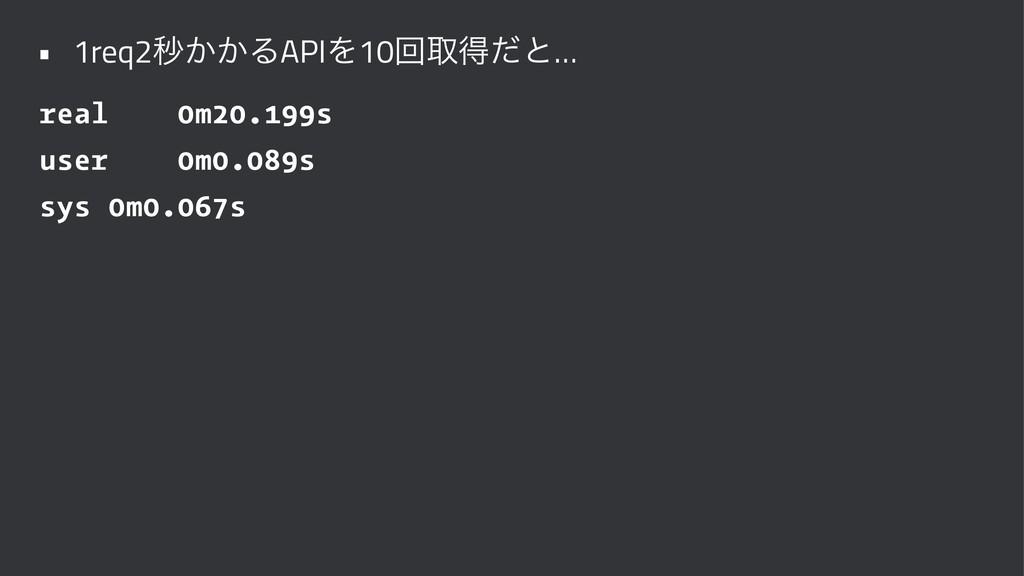 • 1req2ඵ͔͔ΔAPIΛ10ճऔಘͩͱ… real 0m20.199s user 0m0...