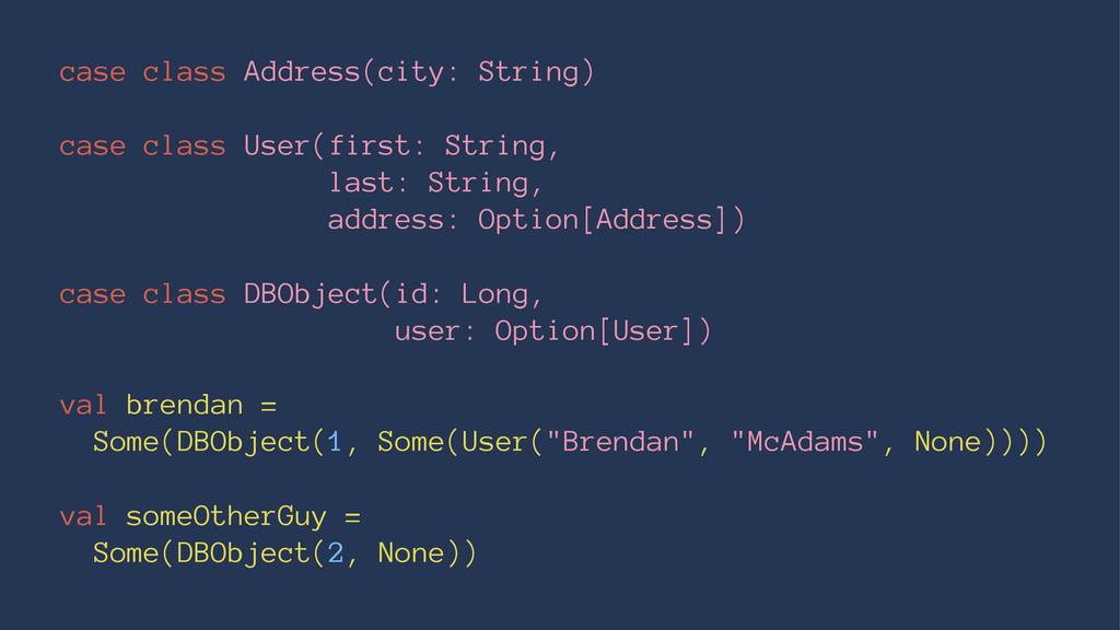 case class Address(city: String) case class Use...
