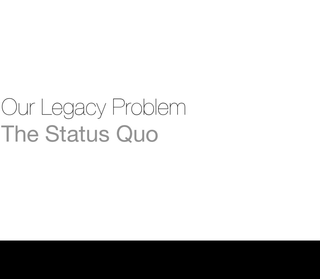 Our Legacy Problem The Status Quo 2 Thursday, 1...