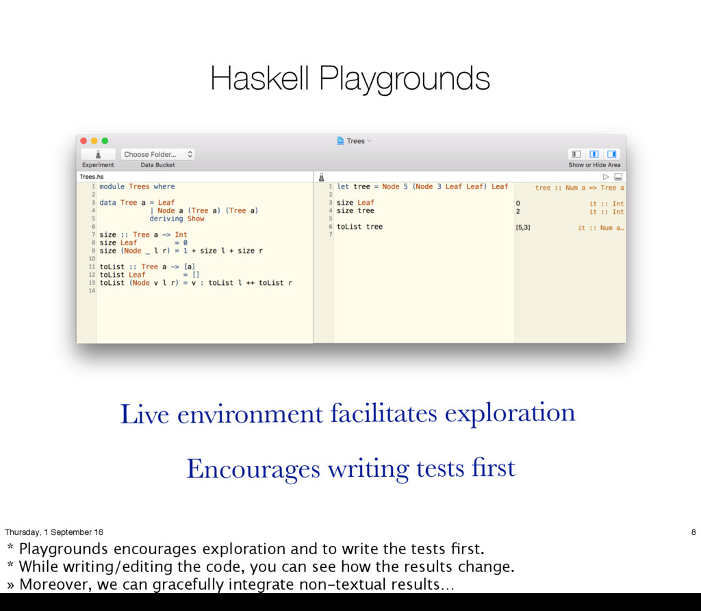 Haskell Playgrounds Live environment facilitate...