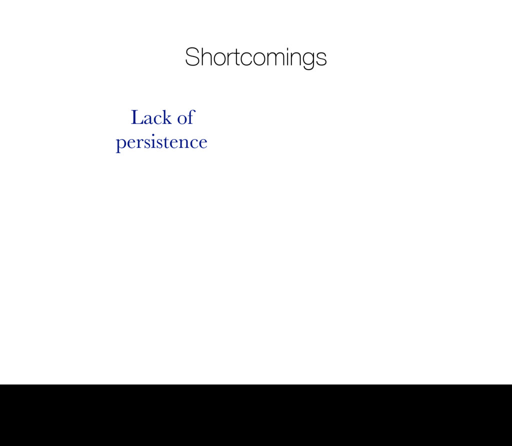 Shortcomings Lack of persistence 6 Thursday, 1 ...