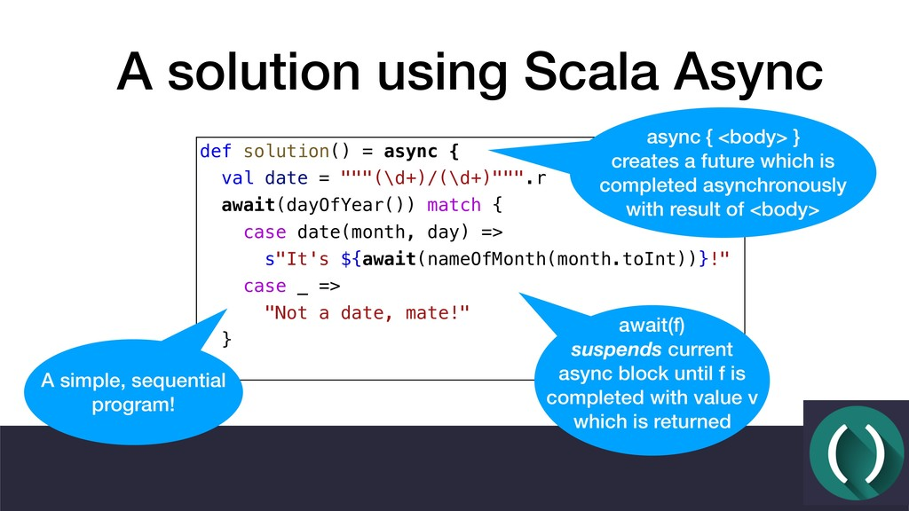 A solution using Scala Async def solution() = a...