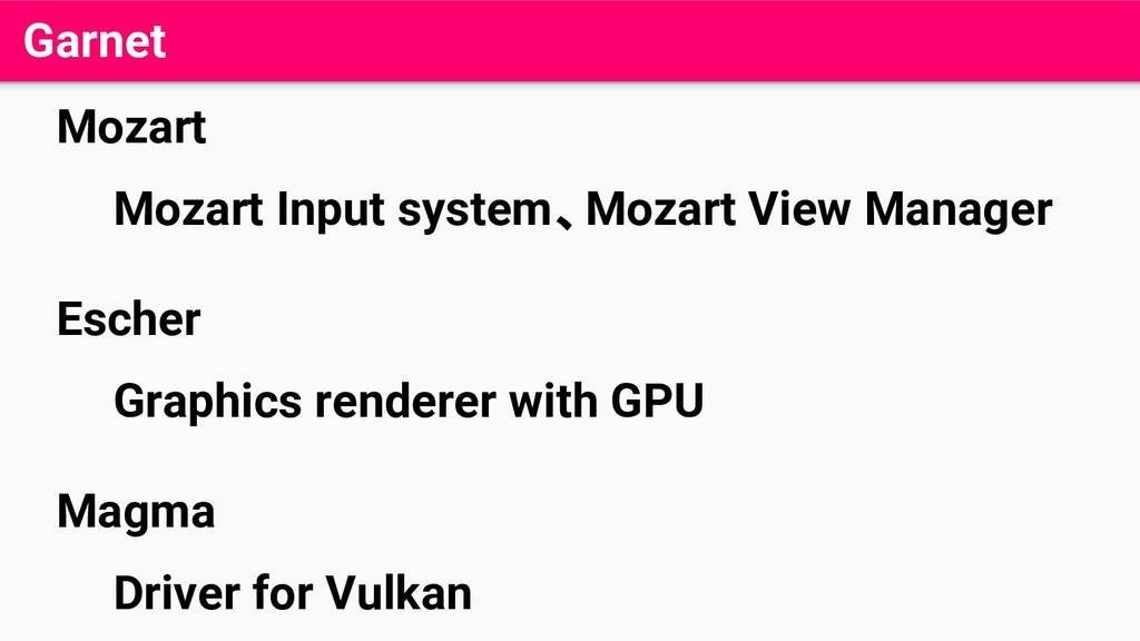 Garnet Mozart Mozart Input system、Mozart View M...