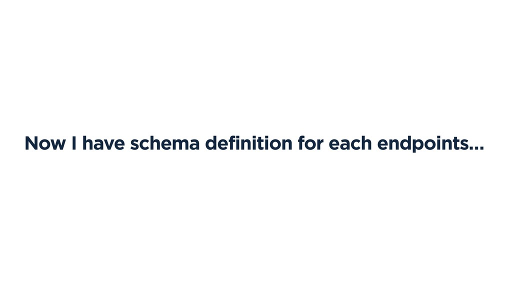 Now I have schema definition for each endpoints…