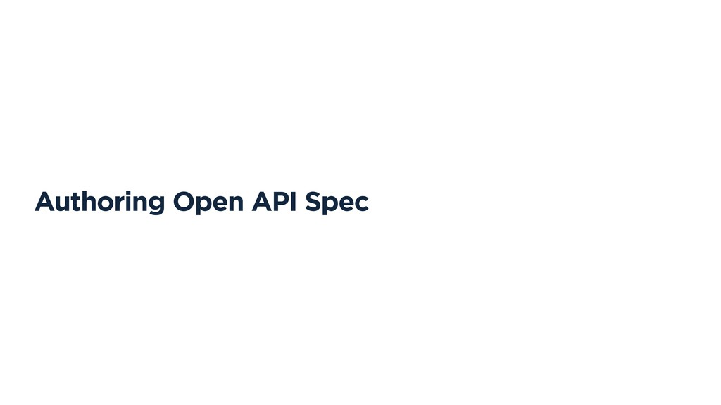 Authoring Open API Spec